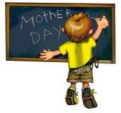 Der kleine Junge schreibt motherâs Tagesgrüße Lizenzfreie Stockfotos