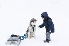 Der kleine Junge und der Hund spielen im Schnee Stockfoto