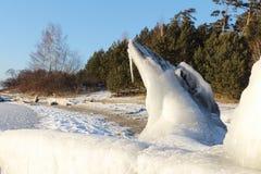 Der Klotz bedeckt mit Eis auf der Bank des Riverbank Stockbilder