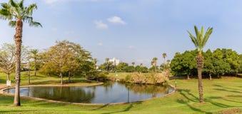 Der künstliche Teich im Park Stockfotos