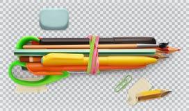 Der Kompaß und der Winkelmesser Stift, Bleistift, Bürste und Scheren Drei Farbikonen auf Pappumbauten Stockfoto