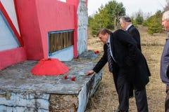 Der Komplex von den Ereignissen eingeweiht dem 30. Jahrestag des Tschornobyl-Unfalles in der Gomel-Region des Republik Belarus stockfoto
