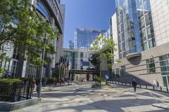 Der Komplex von Gebäuden des Europäischen Parlaments lizenzfreies stockbild