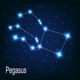 Der Konstellation Pegasus-Stern im nächtlichen Himmel. lizenzfreie abbildung