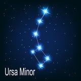 Der Konstellation Ursa Minor-Stern in der Nacht stock abbildung