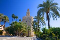 Der Kontrollturm des Goldes, in Sevilla, Südspanien Lizenzfreie Stockfotografie