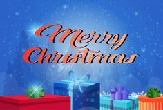 Der Konzeptgeschenkboxdekoration der frohen Weihnachten des guten Rutsch ins Neue Jahr flache horizontale Grußkarte lizenzfreie abbildung