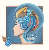Der Kopf der Frau mit Lotosblume Lizenzfreie Stockbilder