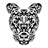 Der Kopf des abstrakten Leoparden in der Stammes- Art Stockfotografie