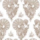 Der Kopf des rams Vector nahtloses Muster Mehendi-Art Stockbild