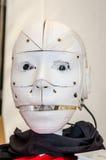 Der Kopf des Roboterbrummens, das auf einem Drucker 3D gedruckt wird, ist in der Lage zu sprechen und hat Videokameras für Augen Lizenzfreie Stockfotos