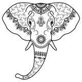 Der Kopf des Schwarzweiss-Elefanten in der Mehndi-Inderart Vektorabbildung auf weißem Hintergrund Stockfoto