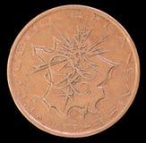 Der Kopf von 10 Franken prägen, herausgegeben durch Frankreich, das im Jahre 1975 eine Karte von Stadt-Frankreich mit Blitzen zei Stockfotografie