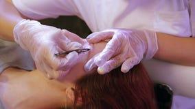 Der Kosmetiker zupft und korrigiert die Augenbrauen des Kunden mit Pinzette stock footage