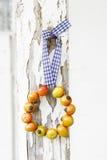 Der Kranz, der von der Hagebutte gemacht wird, trägt auf hölzernem Hintergrund Früchte Lizenzfreie Stockbilder