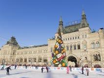 Der Kreml-Weihnachtsbaum auf Rotem Platz Lizenzfreie Stockfotos