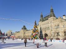 Der Kreml-Weihnachtsbaum in Moskau Stockfotos