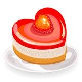 Der Kuchen hat eine Herzform Vorz?gliche S?sse Passend f?r eine romantische Sitzung, f?r Tag des Valentinsgru?-s, wie einen Valen vektor abbildung