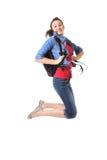 Der Kursteilnehmer springend in die Luft Lizenzfreie Stockfotografie