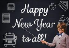 Der lächelnde Junge, der mit Stock auf Gruß des neuen Jahres zeigt, zitiert stockbilder