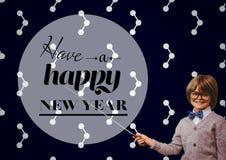Der lächelnde Junge, der mit Stock auf Gruß des neuen Jahres zeigt, zitiert lizenzfreie stockbilder