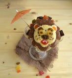 Der Löwe wird von der Eiscreme gemacht Lizenzfreies Stockbild