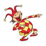 Der lachende Clown oder der Spaßvogel in Dummkopf ` s Kappe zeigt den Finger Auch im corel abgehobenen Betrag lizenzfreie abbildung