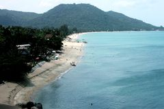 Der Lamai-Strandüberblick in Samui-Insel in Thailand Lizenzfreies Stockfoto