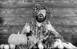 Der Landwirt, der auf Trauben stolz ist, ernten frische organische Ernte Trauben von eigenem Garten Landwirtschaft des Konzeptes  lizenzfreie stockbilder