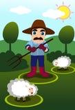 Der Landwirt im Dell Stockfotografie