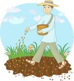 Der Landwirt sät Korn stock abbildung