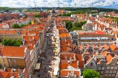 Der lange Weg der alten Stadt in Gdansk Lizenzfreies Stockbild