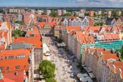 Der lange Weg der alten Stadt in Gdansk Lizenzfreies Stockfoto
