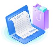 Der Laptop, on-line-Rechnungszahlung, Einkaufstasche Flaches isometrisches IL Stockfotografie
