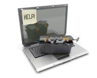 Der Laptop mit Kastenwerkzeugen auf einem Weiß Lizenzfreie Stockbilder