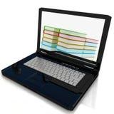 Der Laptop und die Bücher Stockfotografie