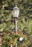 Der Laternenpfahl mit Blumen Stockfotos