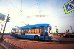 Der Laufkatzenbus auf der Straße in St Petersburg Lizenzfreie Stockfotos