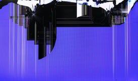 Der LCD-Bildschirm der Fernseh-setis gebrochen durch Schüsse auf blauem Feld Stockfoto