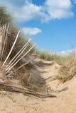 Der leere Strand von Barneville Carteret, Normandie, Frankreich Lizenzfreies Stockfoto