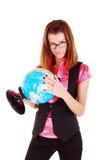 Der Lehrer von Geographie mit der Kugel. lizenzfreies stockbild