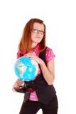 Der Lehrer von Geographie mit der Kugel. stockbild