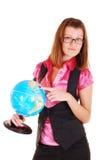 Der Lehrer von Geographie mit der Kugel. stockfotografie