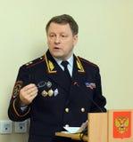 Der Leiter der Sicherheit des Verkehrs vom Innenministerium von Russland der allgemeine-d Leutnant der Polizei Victor Nilov Lizenzfreies Stockfoto