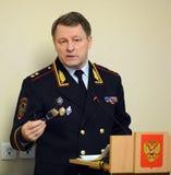 Der Leiter der Sicherheit des Verkehrs vom Innenministerium von Russland der allgemeine-d Leutnant der Polizei Victor Nilov Lizenzfreie Stockfotografie