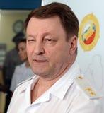 Der Leiter der Sicherheit des Verkehrs vom Innenministerium von Russland der allgemeine-d Leutnant der Polizei Victor Nilov Lizenzfreie Stockfotos