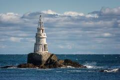 Der Leuchtturm bei Ahtopol, Bulgarien Leuchtturm im Hafen von Ahtopol, Schwarzes Meer, Bulgarien, Stockfotografie