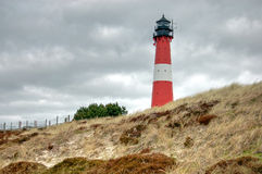 Der Leuchtturm von Hornum auf der Insel Sylt stockbilder