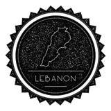 Der Libanon-Karten-Aufkleber mit der Retro- Weinlese angeredet Stockfoto