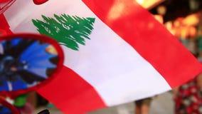 Der Libanon-Markierungsfahne stock footage